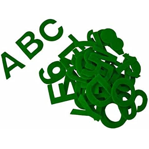 Alfabeto autoadhesivo en fieltro acrílico, appr. 5 cm, verde - kit de 80 piezas