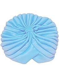 TOOGOO(R)Mujeres Envuelva Sombrero Elastico Turbante Banda de Cabeza Yoga Gorra(azul claro)