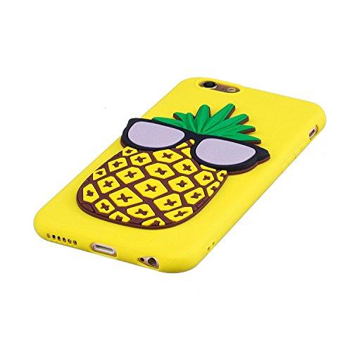 Coque iPhone 6S,Mignonne 3D Silicone Bumper Case pour iPhone 6,Ekakashop Soft TPU Silicone avec Motif de Deer élégant Crystal Clair Souple Gel Housse Anti-choc Coque Protecteur Back Cover Defender pou Ananas