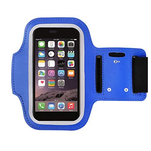 Laufen Armbinden Für IPhone6, Jogging, Training, Fitness Mit Schlüsselslot Sport Anti Slip, Schlankes Leichtgewicht, Schweiß & Wasserdicht (Farbe : Blau, größe : 5.5in)