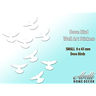 White DOVE BIRDS, Home Decor Art Wall Stickers (Small 8 x 45 mm), Abelli Home Decor