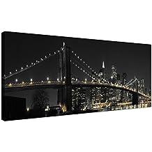 Panorámica Lienzo Arte del puente de Brooklyn de Nueva York de noche para tu oficina–Americana Ciudad lienzo 1075–Wallfillers®