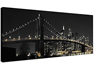 Panoramic Canvas Art of the Brooklyn Bridge New York at Night for your Office - American City Canvas Prints 1075 - Wallfillers®