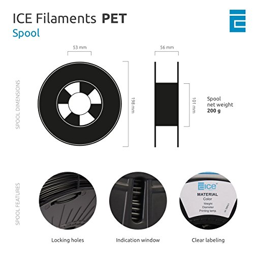 ICE FILAMENTS ICEFIL1PET154 PET Filament, 1,75 mm, 0,75 kg, Transparent Romantic Red - 4