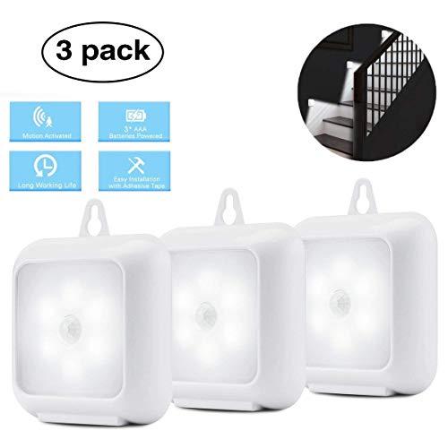 LED Nachtlicht mit Bewegungsmelder, Elfeland 3er-Set Schrankleuchte LED Lichter mit Sensor schrankbeleuchtung mit Magnet Klebeband Küchenlampe (Batteriebetriebene 6 Leds Sanft-Weiß) für Schlafzimmer, Küche, Treppe, Gang
