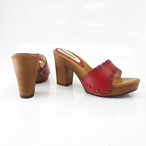 kiara shoes Sabot Colorés Confortable Talon 7 CM -14301 Rouge