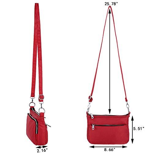 UTO Borsa a Tracolla Ultraleggera in nylon impermeabile convertibile crossbody borsa a spalla per iPad-Mini, Kindle e Compresse Rosso Rosso