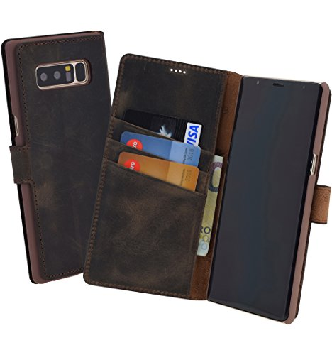 Suncase Book-Style (Slim-Fit) für Samsung Galaxy Note 8 Ledertasche Leder Tasche Handytasche Schutzhülle Case Hülle (mit Standfunktion und Kartenfach) antik braun