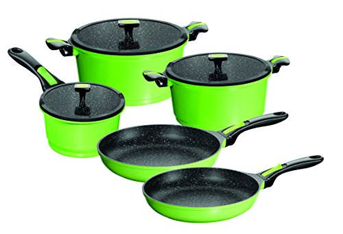 Stoneline Imagination cookware set 8 pieces, with exchangeable and removable handle, suitable for induction, green