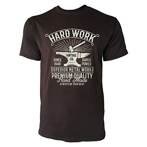SINUS ART ® Hammer und Amboss im Vitage Stil – Hard Work Herren T-Shirts in Schokolade braun Fun Shirt mit tollen Aufdruck (Print Amboss T-shirt)