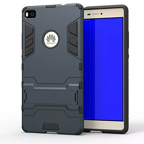 HUAWEI Case Cover HUAWEI P8 Cover, 2 In 1 Neue Armour Tough Style Hybrid Dual Layer Defender PC Hard Back Abdeckung mit Ständer Shockproof Fall Für HUAWEI P8 ( Color : Blue , Size : HUAWEI P8 ) Blue