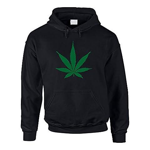 Hoodie Hanfblatt Weed Leaf Kapuzenpullover Hanf Sweater Cannabis, XXXL, schwarz