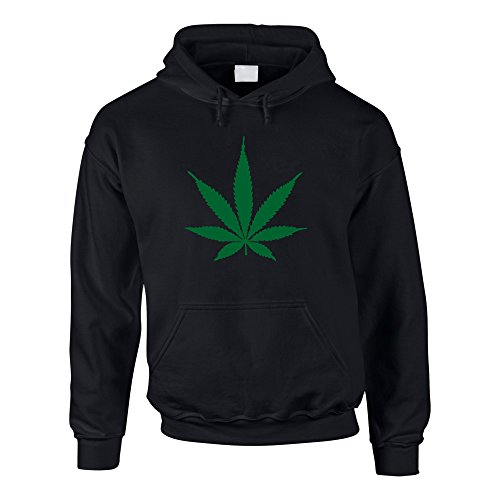 Hoodie Hanfblatt Weed Leaf Kapuzenpullover Hanf Sweater Cannabis, M, schwarz