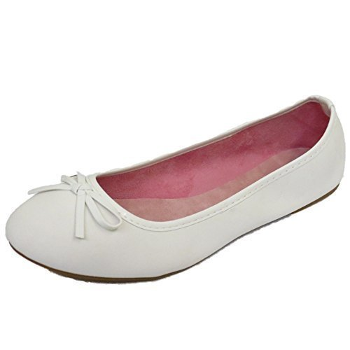 09346ddef500b Ladies Flat White Slip-On Shoes Dolly Comfy Ballet Ballerina Casual Pumps  UK 3-8