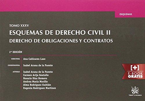 Tomo XXXV Esquemas de Derecho Civil II Derecho de Obligaciones y Contratos 2ª Edición 2016 por Carmen Arija Soutullo