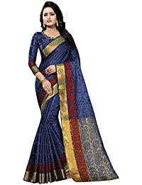 SATYAM WEAVES WOMEN'S ETHNIC WEAR JARI BORDERED COTTON SILK SAREE. (SIMRAN)