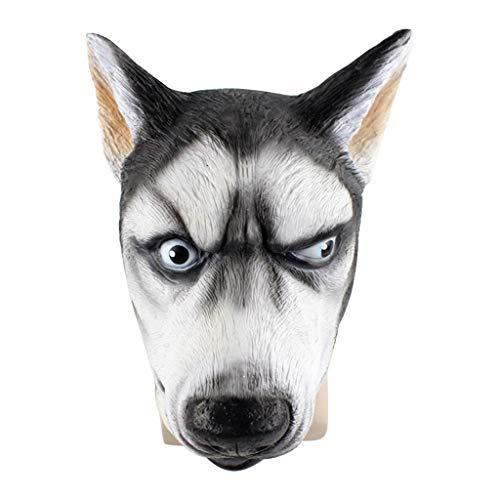 Kostüm Plus Sensenmann - TIREOW Halloween Party Cosplay Rollenspiel Maske, Siberian Husky Hundemaske Gruselige Tierkopf Latexmaske Plus Spitzen Masken Kopfbedeckung