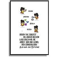 A4 Plakat gedruckt auf Künstlerpapier FineArt Bild KOCHEN WASCHEN BÜGELN PUTZEN Wand-Deko Geschenkidee zum Muttertag Geidcht Poster Druck im modernen Flat Design