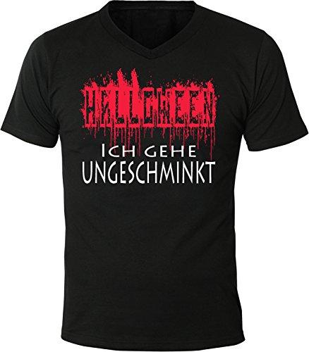 Mister Merchandise Herren Men V-Ausschnitt T-Shirt Halloween - Ich Gehe ungeschminkt Verkleiden Witzig Tee Shirt Neck Bedruckt Schwarz, L