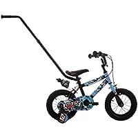 "Raleigh Sun MX12 Boys' Kids Bike Blue/Black, 9"" inch steel frame, 1 speed mini-mag wheel, puncture proof tyres high raised handlebars, printed pad"