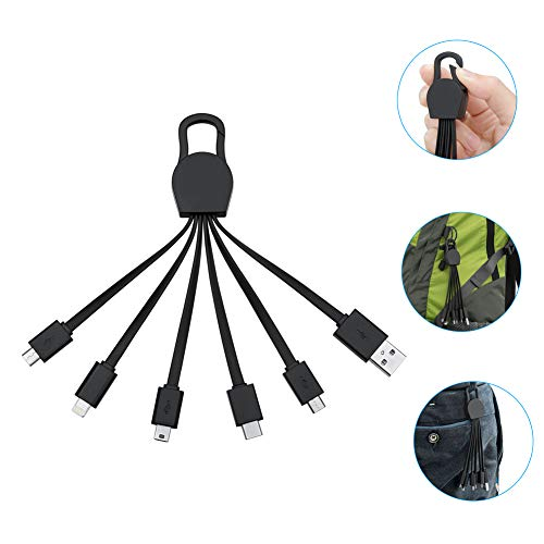 JASTEK Multi-Ladekabel, 6.3 Inch Ladekabel mit USB C Anschluss,dem 8-poligen Blitzanschluss, Micro-USB und Mini-USB Anschluss (einteilig schwarz) Usb-anschluss-micro-usb
