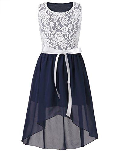 iEFiEL Mädchen Kleid Festlich Tüll Sommer Kleid Blumenmädchen Hochzeit Festzug Bekleidung mit Schleife 116-164 Marineblau 128