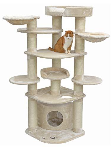 nanook Gigant Deluxe - Kratzbaum XXL, Premium Qualität, große und schwere Katzen (Maine Coon, Ragdoll), standfest - Aufbau variabel - 15 cm Ø Krätzstämme - Creme/beige