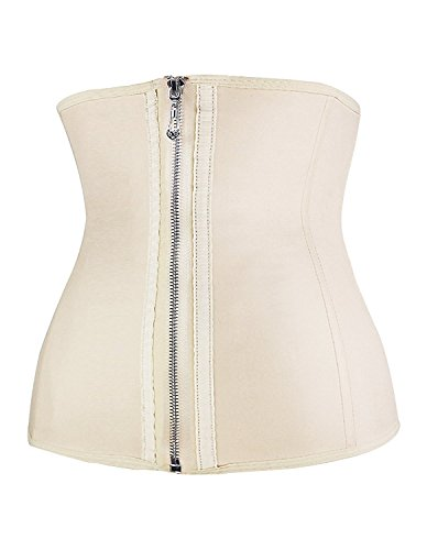 Burvogue Corsetto stringivita da donna, con tre gancetti, in lattice Beige