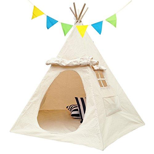 Lavievert Kinderzelt mit zwei Fenster Spielzelt Indianerzelt Tipi für Kinder Mädchen Spielhaus aus 100% Baumwolle Segeltuch