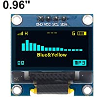 "4 Pines 0,96"" Blanco/Azul/Amarillo Azul 0,96 Pulgadas OLED 128X64 OLED módulo de visualización 0,96"" IIC I2C Comunicar for Arduino (Color : Yellow Blue)"