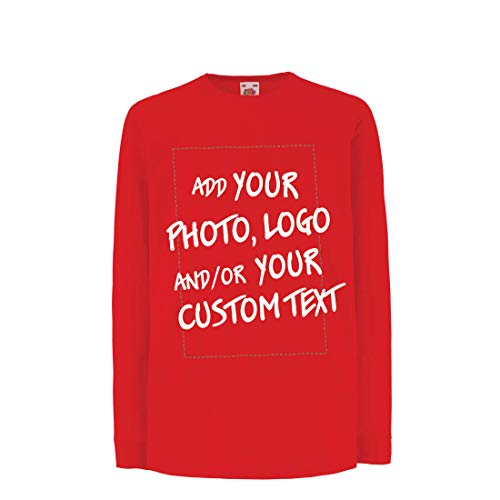 irt mit Langen Ärmeln Individuelles personalisiertes Geschenk, Firmenlogo, eigenes Design oder Foto hinzufügen (7-8 Years Rot Mehrfarben) ()