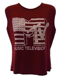 Dames MTV Music Television afdrukken zonder mouwen gewas top vrouwen bijgesneden t-shirt 8 tot 14