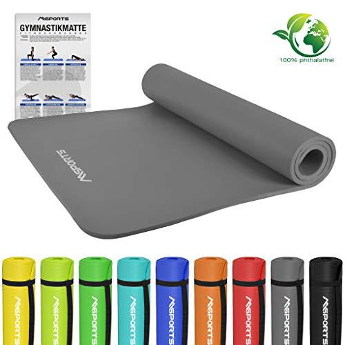 MSPORTS Gymnastikmatte Premium | inkl. Übungsposter | Hautfreundliche - Phthalatfreie Fitnessmatte - Anthrazit - 190 x 100 x 1,5 cm - sehr weich - extra dick | Yogamatte