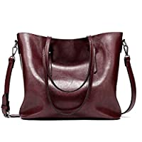 RUISSEN Womens Handbags Soft Leather Retro Vintage Large Capacity Top-Handle Casual Tote Shoulder Bag (Black) (Dark Red)