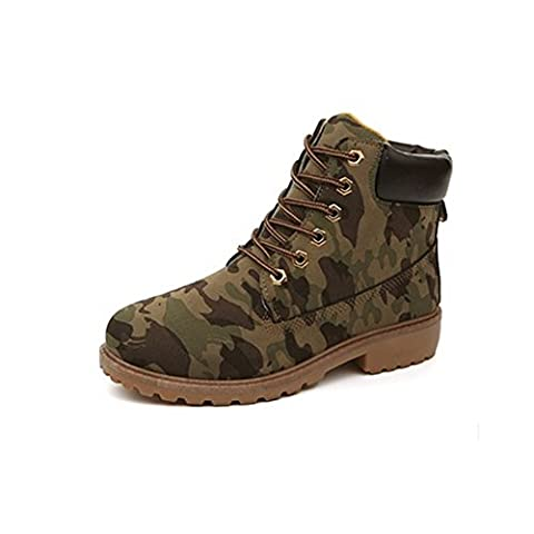 CHNHIRA Mens Short Combat Chelsea Retro Lace Up Martin Ankle Boots Work Hiking Trail Biker Shoes(11,Camo)