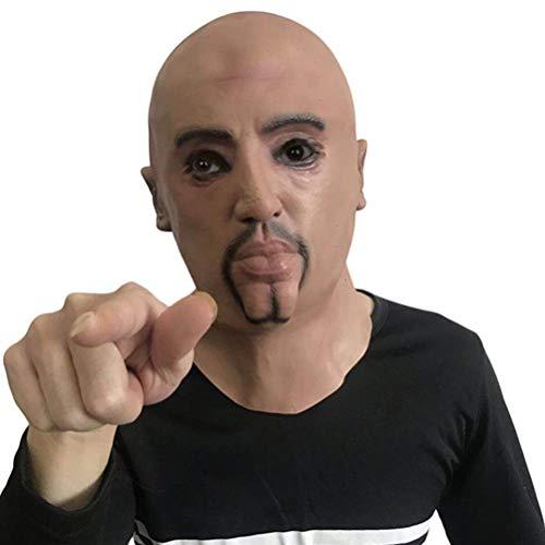 Neuheit Halloween Kostüm Party Latex Mensch Realistische Kopfmaske, Lustige Latex Kopfmaske Realistische Maske Starker Mann Gruseliger Alter - Lustige Alte Menschen Kostüm