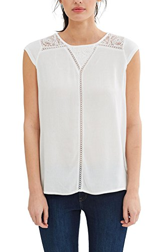 ESPRIT Collection Damen T-Shirt 037EO1K012 Weiß (Off White 110), 42 (Herstellergröße: XL) (White Burnout-t-shirt)