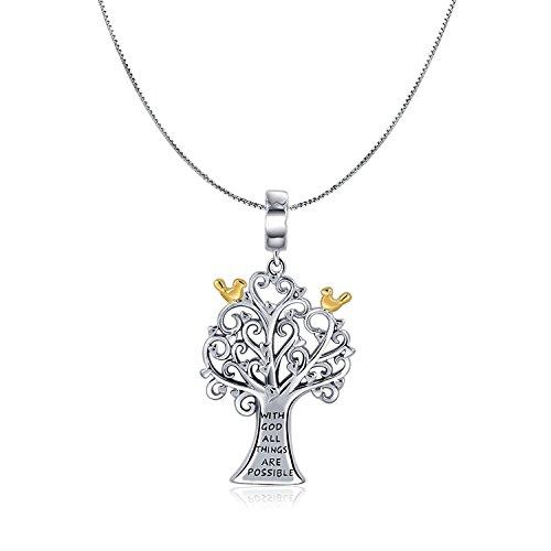 mit Gott alle Dinge sind möglich 925Sterling Silber Anhänger Halskette Family Tree of Life Religion Schmuck Weihnachten Day Gifts