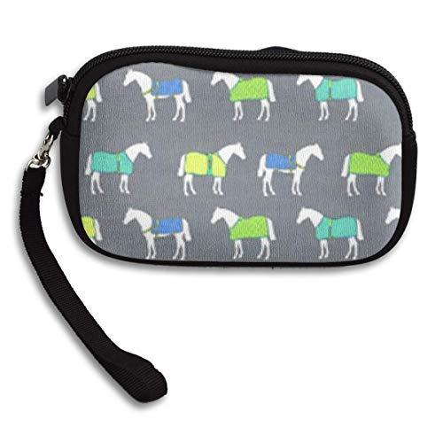 MAMAARE Geldbörse Pferdedecken Farbe Schminktäschchen Brieftasche Tasche ändern Beutel Schlüsselhalter Münzfach mit Reißverschluss Leicht und wasserdicht