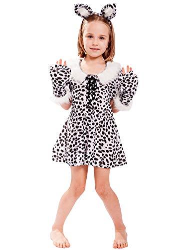 chen Leopard Animal Print mit Stirnband Kleid Kostüm (Weiß, L) ()