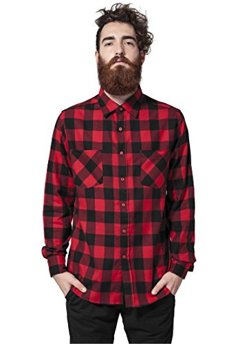 Urban Classics Bekleidung Checked Flanell Shirt  Uomo blk/red