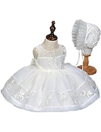 H/B 2pcs Marfil satén de encaje de bautizo del bebé niña 1año cumpleaños vestido 1523