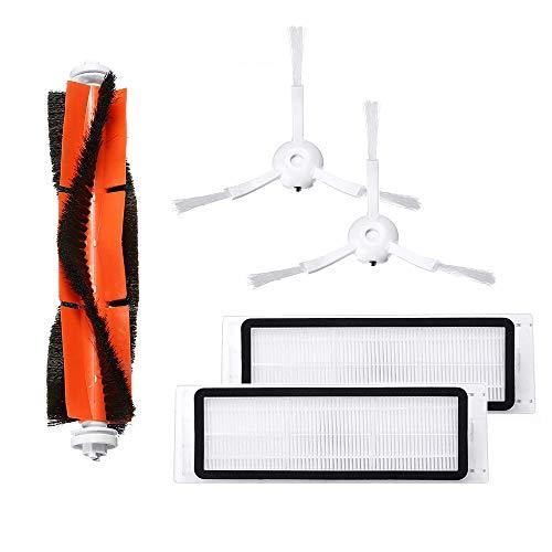IAmoy Kit de Filtro de Repuesto y Cepillo Lateral Compatible con Xiaomi Roborock MI Robot S50 S55 S6...