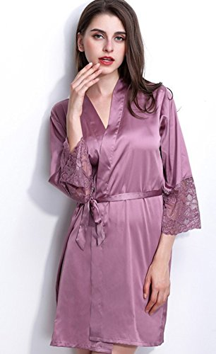Bomshel Women Satin Purple Nightwear Nightdress