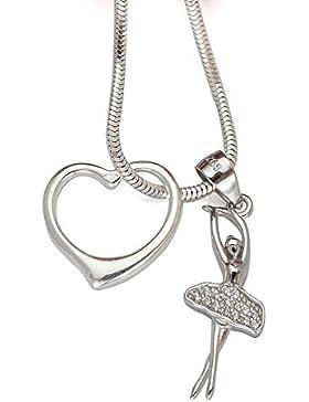 925 Silber Set Ballerina Tänzerin Zirkonia Anhänger mit Herz Anhänger + Silberkette #1199