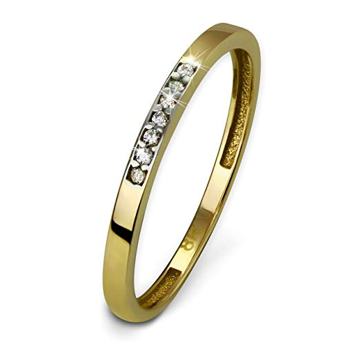 SilberDream Ring Gr.54 333er Gelbgold Zirkonia weiß 8 Karat Gold GDR502Y54