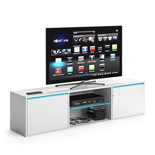 Low Sideboard (VICCO TV Lowboard PEGASUS 160cm Weiß - Fernsehtisch Sideboard Weiss Board Schrank Regal Fernsehschrank (Weiß, mit LED Beleuchtung))
