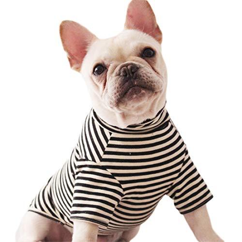 Hundeshirt Kleine Hunde Mode Streifen T-Shirt für Welpen Hemd Atmungsaktiv Hundekostüm Jersey Tee Baumwolle Frühjahr Herbst French Bulldog Bekleidung Sommer Mittlere Hunde (XL, schwarz) Papillon T-shirt Sweatshirt