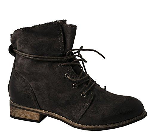 Elara Damen Stiefeletten | Bequeme Chukka Boots | Trendig Kurzschaft Wildlederoptik Grau