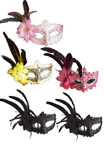 Zinmuwa Frauen - Venezianischen Maskenball Masken Feder Halloween Party 5 - Packung set5p One Size